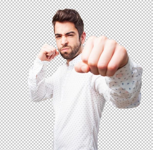 Homem, perfurando gesto