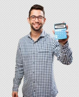Homem, segurando, calculadora