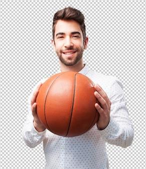 Homem, segurando, cesta, bola