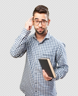 Homem, segurando, livro