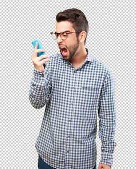 Homem, shouting, para, móvel