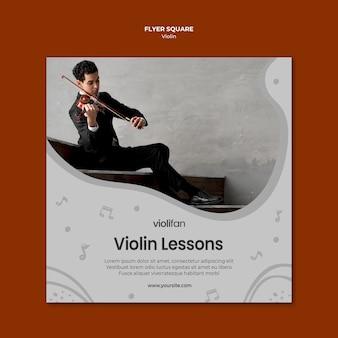 Homem tocando lições de violino panfleto quadrado