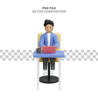 Homem trabalhando sentado na cadeira usando laptop freelancer ilustração 3d premium psd