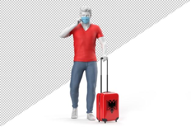 Homem usando máscara facial puxa uma mala texturizada com a bandeira da albânia. ilustração 3d