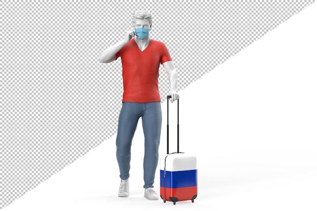 Homem usando máscara facial puxa uma mala texturizada com a bandeira da rússia. ilustração 3d