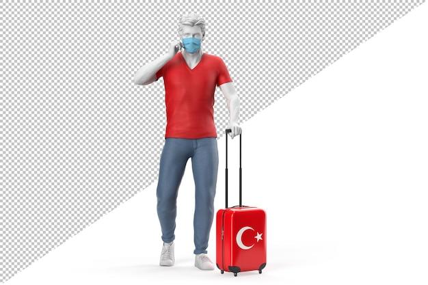 Homem usando máscara facial puxa uma mala texturizada com a bandeira da turquia. ilustração 3d