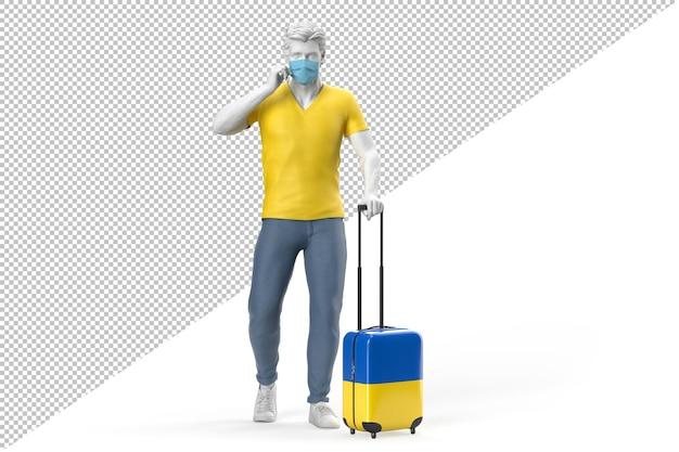 Homem usando máscara facial puxa uma mala texturizada com a bandeira da ucrânia. ilustração 3d