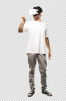 Homem, usando, vr, óculos, tocar, ligado, tela transparente