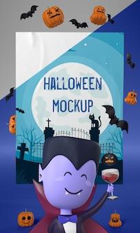 Homem-vampiro ao lado da maquete do cartão de halloween