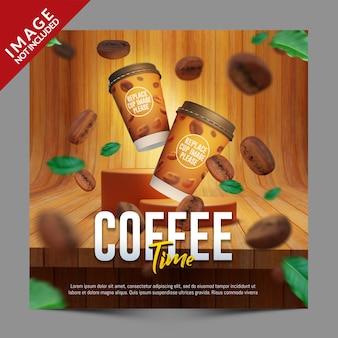 Hora do café para o modelo de promoção de postagem nas redes sociais