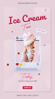 Hora do sorvete, banner do instagram, modelo de postagem de mídia social