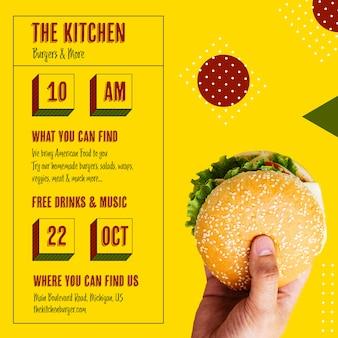 Horário da cozinha com hambúrguer