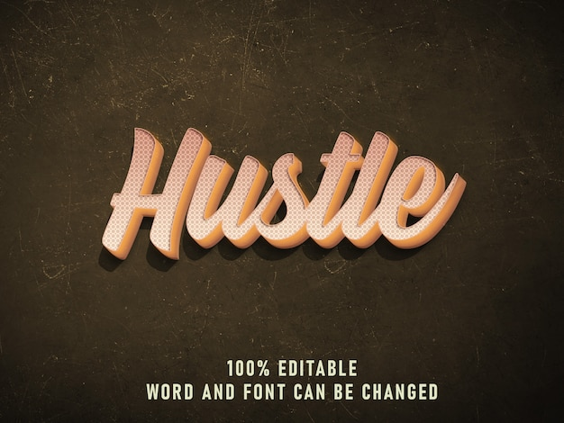 Hustle vintage text style effect color com grunge style retro