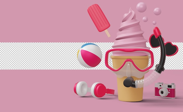 Icecream usando máscara de mergulho com equipamento de praia, temporada de verão, renderização 3d de verão