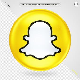 Ícone 3d amarelo da elipse snapchat logo
