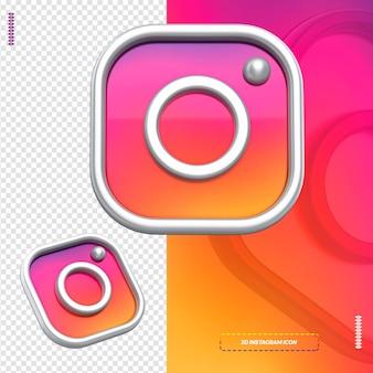 Ícone 3d branco do instagram isolado para composição
