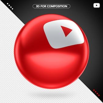 Ícone 3d branco lateral vermelho elipse youtube branco para composição