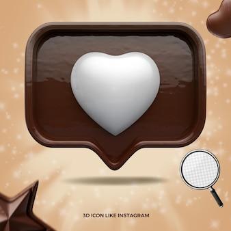 Ícone 3d como renderização de páscoa de chocolate instagram de mídia social