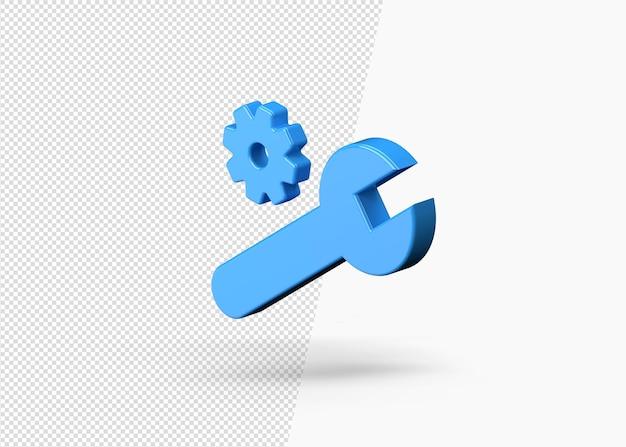 Ícone 3d da engrenagem de configuração de negócios de cor azul isolado