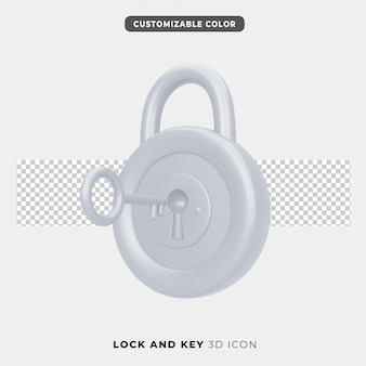 Ícone 3d de cadeado e chave
