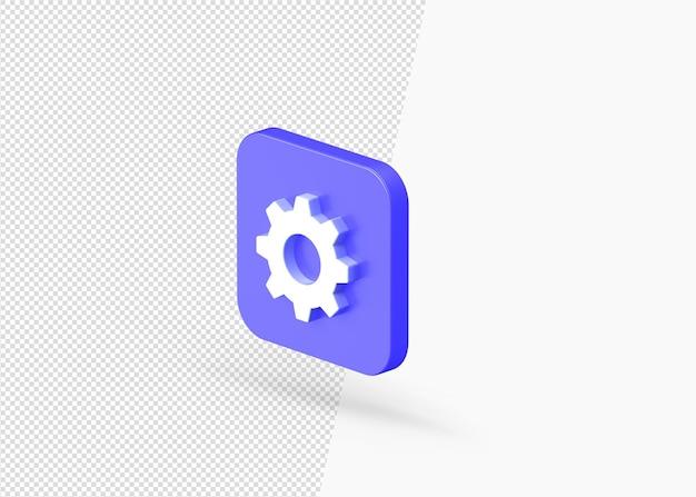 Ícone 3d de configurações de música com formato quadrado arredondado