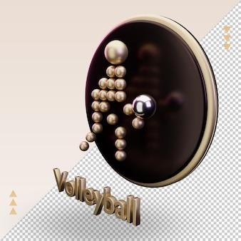 Ícone 3d de esportes olímpicos de ouro símbolo de voleibol renderizando vista direita