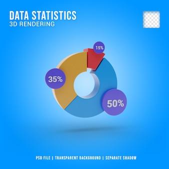 Ícone 3d de estatísticas de dados, renderização em 3d