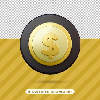 Ícone 3d de moeda de dólar em renderização 3d isolado