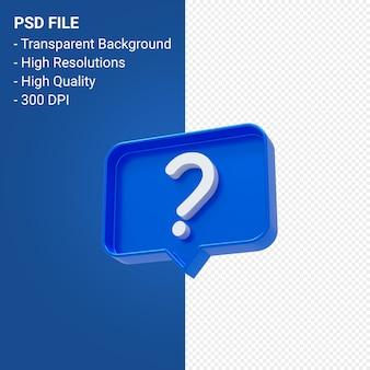 Ícone 3d de notificação de ponto de interrogação isolado