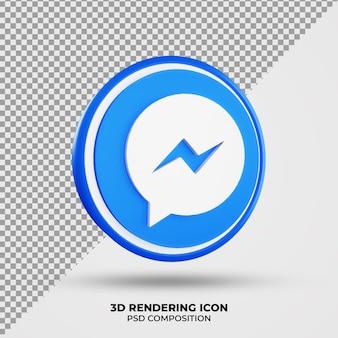 Ícone 3d de renderização do facebook messenger