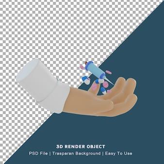 Ícone 3d de uma mão de médico carregando remédio