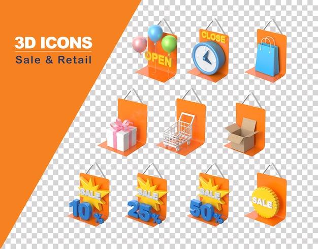 Ícone 3d de vendas e varejo de compras isolado
