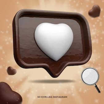 Ícone 3d deixado como mídia social instagram chocolate páscoa render
