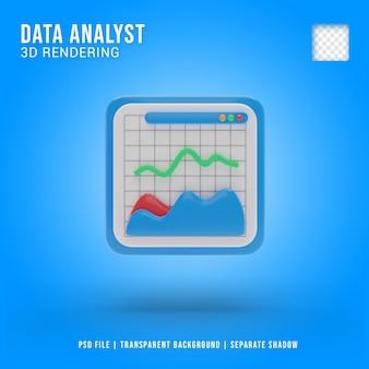 Ícone 3d do analista de dados, renderização 3d