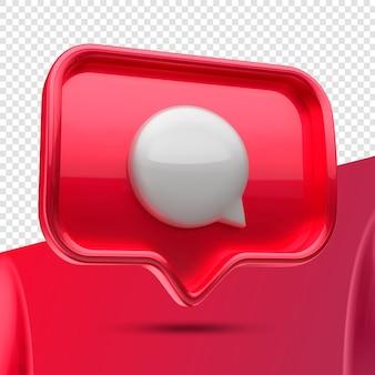Ícone 3d do balão de mensagem do instagram restante