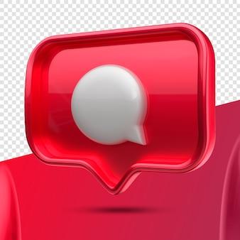 Ícone 3d do balão de mensagens do instagram à direita