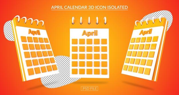 Ícone 3d do calendário de abril isolado