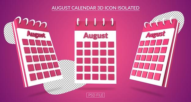 Ícone 3d do calendário de agosto isolado