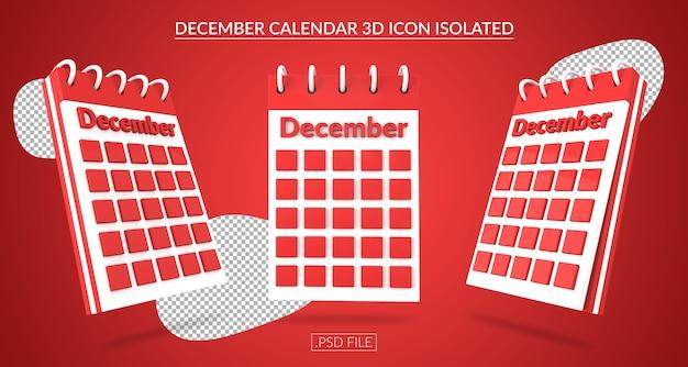 Ícone 3d do calendário de dezembro isolado