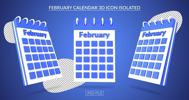 Ícone 3d do calendário de fevereiro isolado