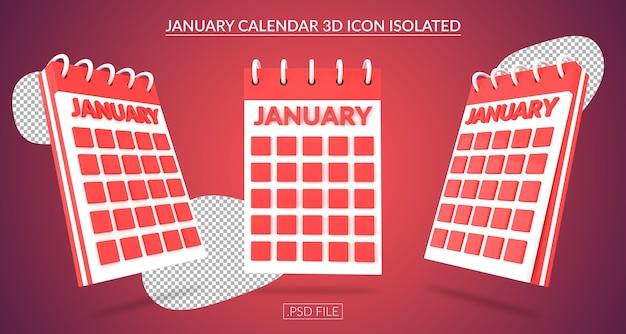 Ícone 3d do calendário de janeiro isolado