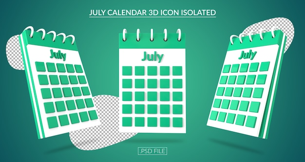Ícone 3d do calendário de julho isolado