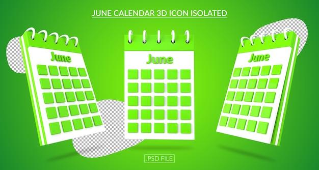 Ícone 3d do calendário de junho isolado