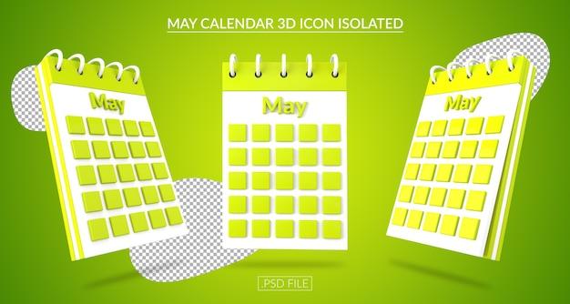 Ícone 3d do calendário de maio isolado