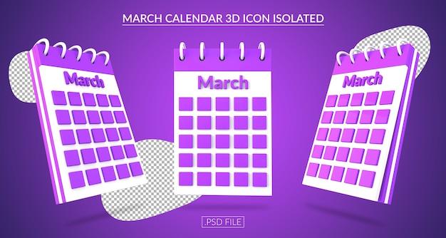 Ícone 3d do calendário de março isolado