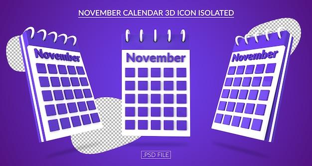 Ícone 3d do calendário de novembro isolado