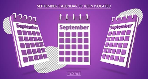Ícone 3d do calendário de setembro isolado