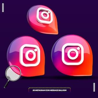 Ícone 3d do instagram em balão de mensagem isolado para composição
