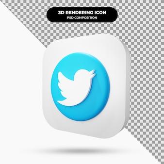 Ícone 3d do objeto twitter