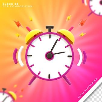 Ícone 3d do relógio para composição